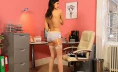 Secretary in sexy black heels undressing