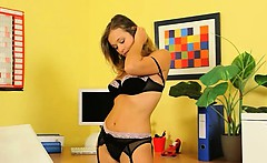 angelic sexy secretary teasing in office