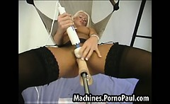 Hot blond DP fucked by machines