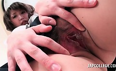 Busty japanese school girl spreads pink wet cunt in close-up