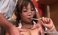 Big titted jap slutty college girl gets snatch rubbed in