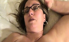 Nerdy girl with big boobs got it all over her face