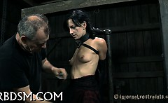 Torturing gorgeous cutie with marital-devices