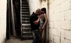 Big stacked whore gives a great blowjob in an alley