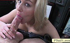Natural blonde fucking in fake taxi