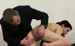 Sexy brunette schoolgirl stripped and spanked