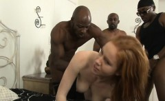 Big boobs redhead whore Kiera Wilde DP with black dude