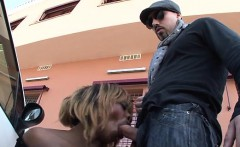 Black Naomie anal fucked on a parking lot