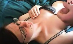 Hot nerdy babe gets mouth fucked on cam
