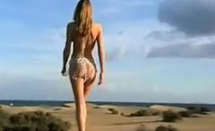 Skinny Babe Walking Around At The Beach