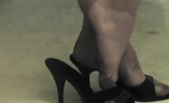 Mature Womans Feet In Stockings And Heels