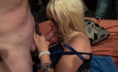 Skinhead chick with mature blonde suck and fuck party