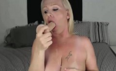 Big tit BBW blondie slams her pussy