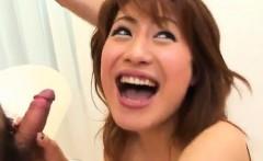 Kaori exposes her hot tits and sucks boner and balls