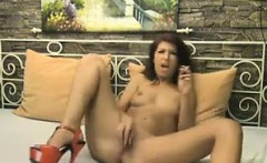 Horny Redhead Strips And Fingering