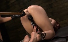 Naughty redhead Rose Red disgraced by blonde dominatrix