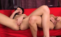 Sensual nymph is gaping narrowed twat in close range and cum