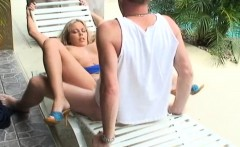 Amateur couple fucks by the pool