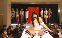 Asian models posing on catwalk