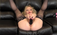 Big breasted blonde in black stockings Aiden Starr gives it to herself