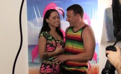Hot latina using a gloryhole in the toilet
