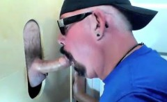 Dude getting a blowjob from an expert sucker in a gloryhole