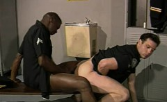 Lustful white cop has his muscled black partner banging his tight ass