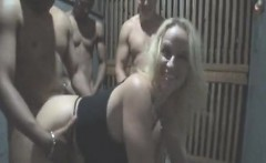 Puffy white sex-slave gets black and chained banged