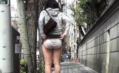 Asian teen shows crotch