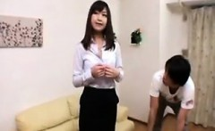 Horny Japanese babe with nice boobs gets toyed and blows hi