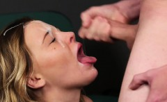 Nasty looker gets cumshot on her face swallowing all the cha