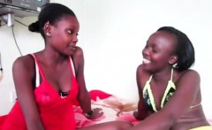 Hot and young African babes banging with the strapon