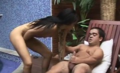 Charming Latina Erika has a horny midget drilling her fiery anal hole