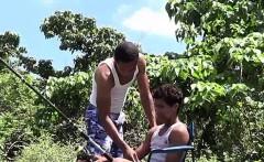 Fishing turns into oral fun for two Latino twinks