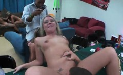 Pretty chick has to give moist blowbang during sex game