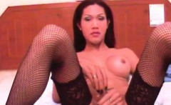 Big boobed ladyboys pose for shooting and suck Rafes cock