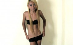 Thin long haired blonde ladyboy enjoys stroking and cumming