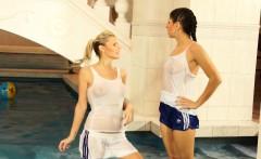 Badminton babes have wetlook fun in pool