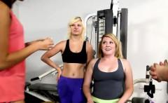 Random girls flash their nice perky titties in the gym