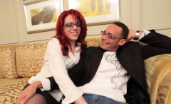 Redhead tgirl in spex plowed deep in her butt