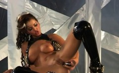 Angel Dark in a leather suit is sure satisfying