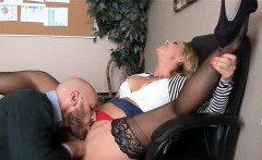 Blonde MILF in Stockings gets Fucked on Desk