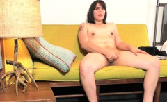 Chubby femboy tugging her hard dick nicely
