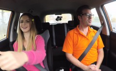 Fake driving school instructir bangs busty teen