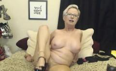 Blonde MOM With Glasses Masturbating