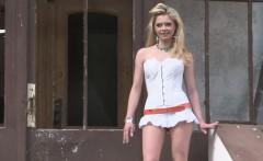 Desirable blonde loves her new white dress