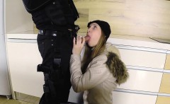 Perfect long haired brunette bangs fake cop