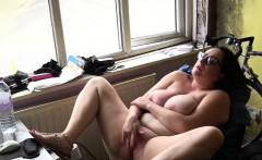 Hot big boobs brunette doing a dirty solo masturbation