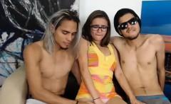 Slutty amateur brunette in a threesome