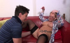 Busty mature gets fucked in stockings